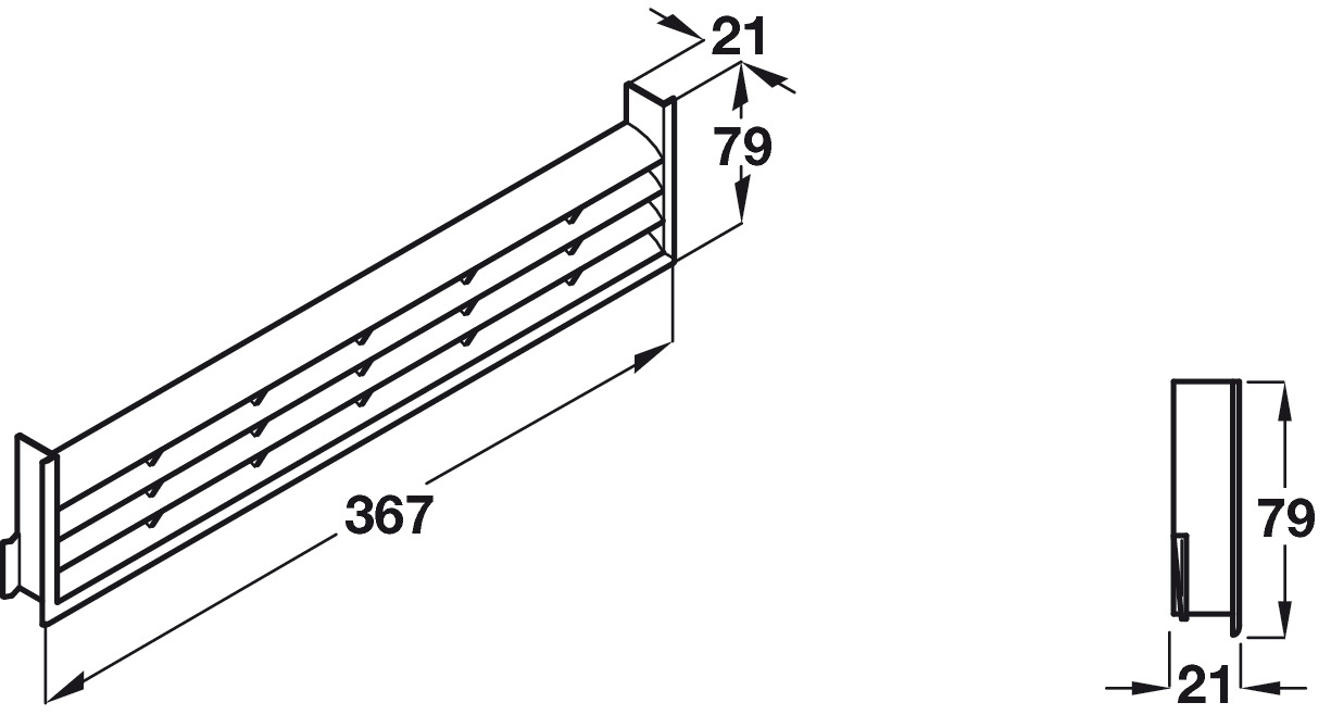 Ventilation Grill, for Recess Mounting, Length 367 mm