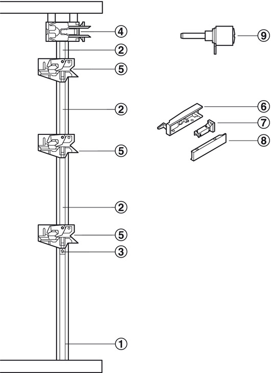 Central locking rotary cylinder lock, Symo, with mounting