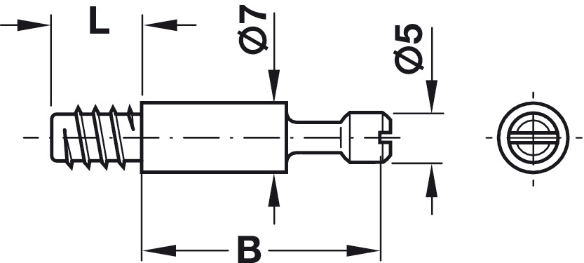 Connecting bolt, S100, standard, Minifix system, for drill