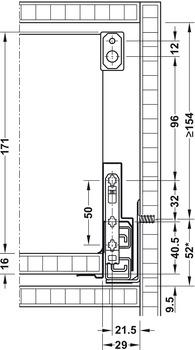 Side rail, Insert Rectangular gallery rail, for Grass Nova