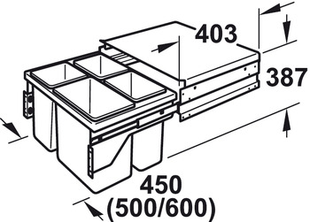Three-bin waste sorter, 3 x 10 litres / 1 x 15 and 2 x 10
