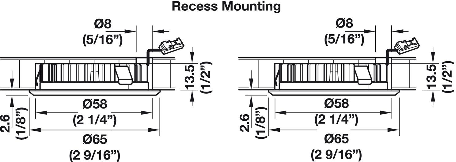 Recess mounted light/surface mounted downlight, Modular