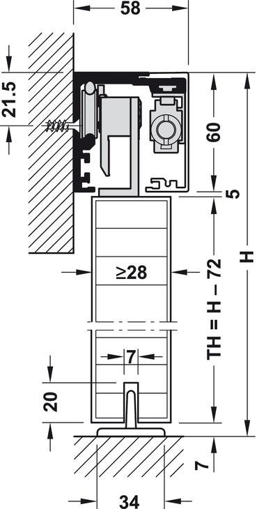 Sliding door fitting, Slido Classic 40-F to 120-F, set