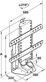 Sistema de elevación eléctrico,Girable manualmente ±210