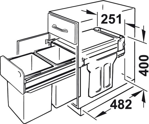 Cubo de basura doble,2 x 15 Litros, Hailo Tandem 3666-10