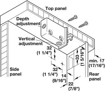 Cabinet hanger, wall unit, load-bearing capacity 120 kg