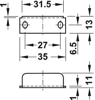 Dead bolt rim lock, with plate cylinder, backset 24 mm