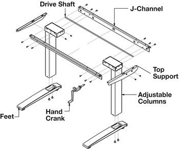 Hand Crank Column Set, AdjusTable System® Conversion Hand