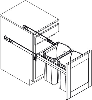 Waste Bin Pull-Out, KV Wood Frame, Side Mount, Double