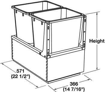 Waste Bin Pull-Out, Wood Frame, Bottom Mount, Double, with