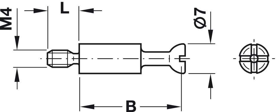 Connecting Bolt, S100, Minifix® System, with M4 thread