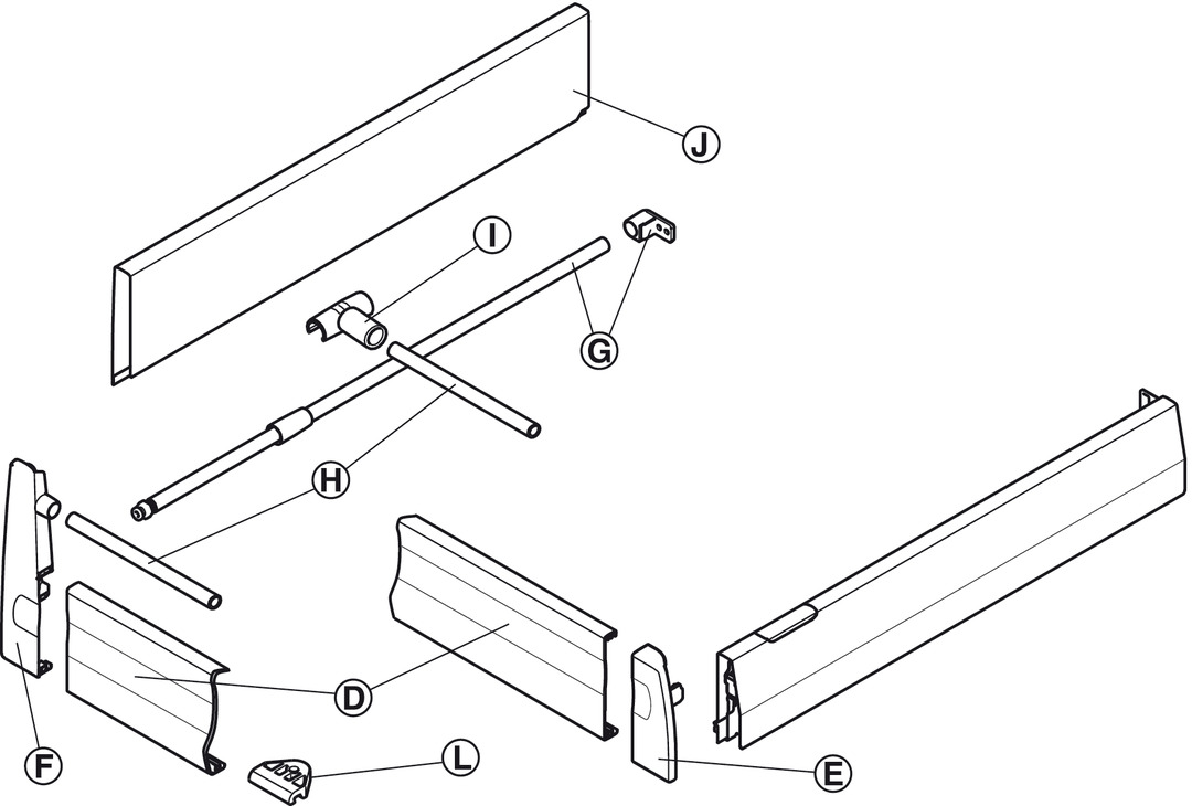 Drawer Side Runner Systems, Häfele MX set, Steel, Drawer