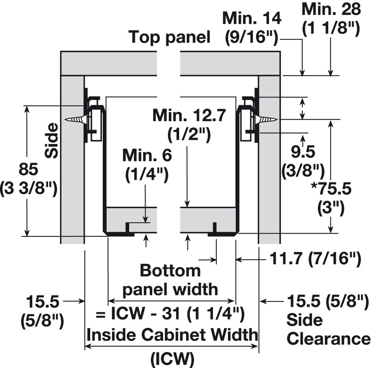 Single-Wall Metal Drawer System, Grass Zargen 6036 (Side