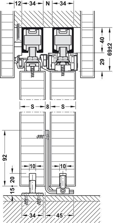 Sliding Door Hardware, Hawa Telescopic 80/2 (for 2 doors