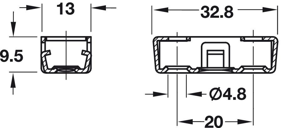 Componentes del herraje de unión,Pieza inferior RV/U-T3