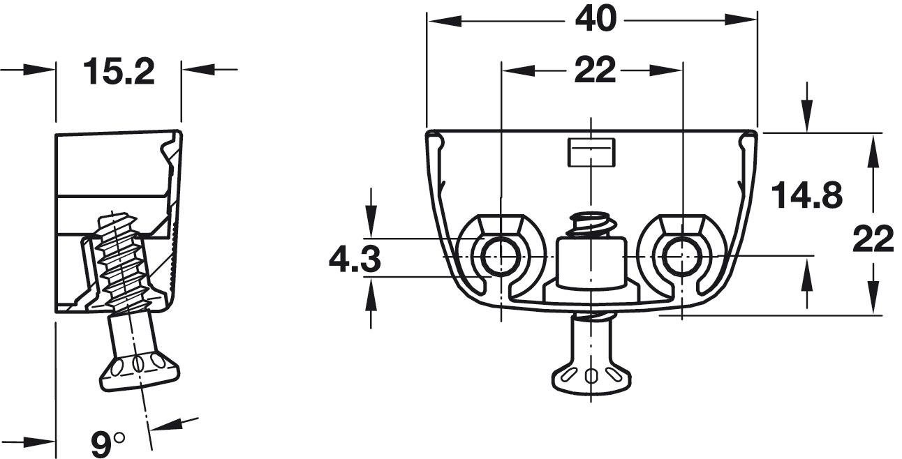 Herrajes de unión para armarios RV,Pieza superior RV/O