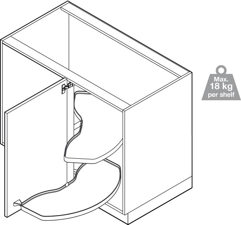 Jeu de tablettes, extension pivotante pour meuble d'angle