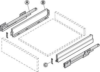 Drawer Set, 90 mm High, Length 270-500 mm, Nova Pro Scala