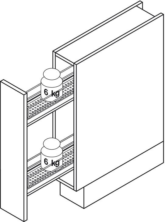 Storage Basket Set, for Cabinet Width 150 mm, 90°, Vauth