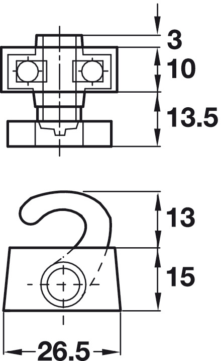 Top and Bottom Catch Hook, for Screw Fixing, Espagnolette