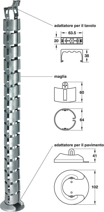 Guida passacavi,a forma di vertebra