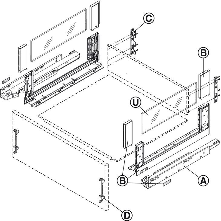 Supporto per schienale in legno,Blum Legrabox pure/free