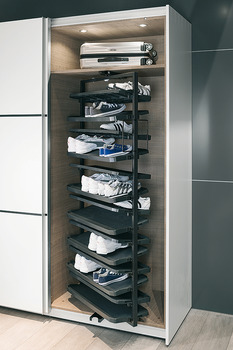 pull out shoe rack rotating 180 for