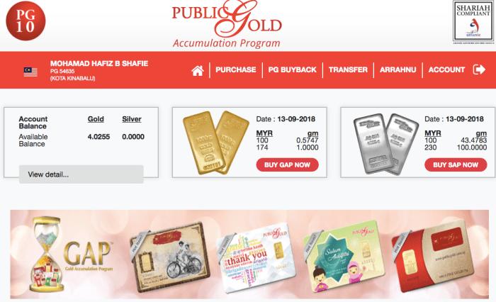 Akaun emas Public Gold di portal