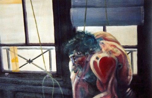 Autorretrato en el estudio de Cuchillería. Óleo sobre lienzo, 100x180, detalle. 1994. Colección Isaias Cuevas.