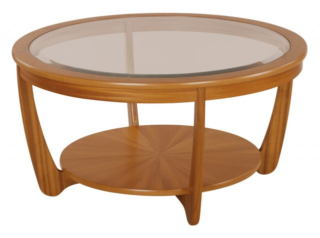 nathan classic teak glass top round coffee table