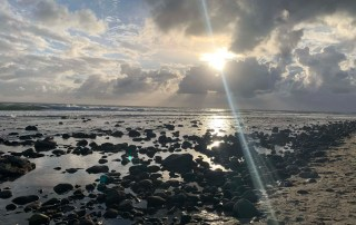 Sunset, clouds, ocean and rocks