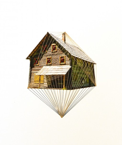 Float, lonely house, 2013, embroidery on paper