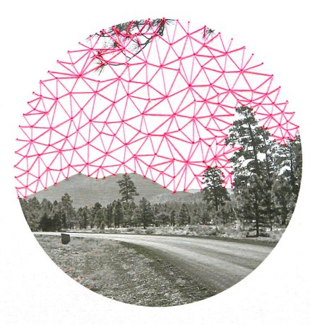 Pink Sky, 2013, embroidery on paper