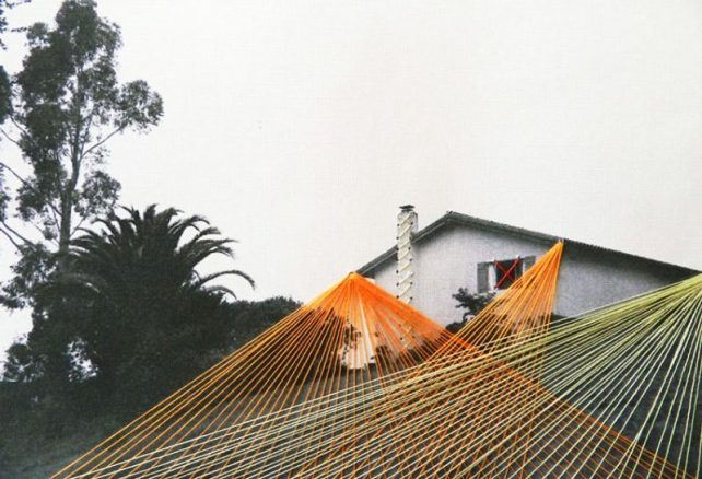Sun rays, lonely house, 2013, embroidery on paper