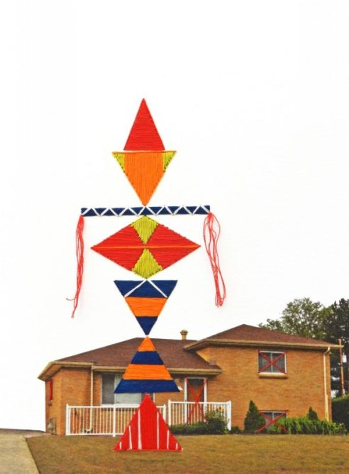 Sold. There is a Totem in my front yard, embroidery on paper, 2014