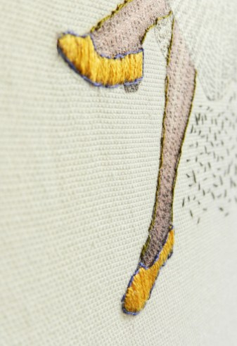 Women with a red hat, 2011, threads on canvas (detail)