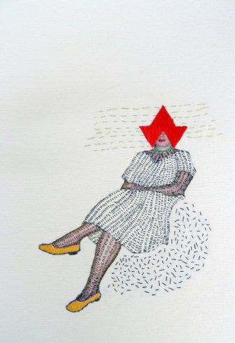 Women with a red hat, 2011, threads and black marker on canvas