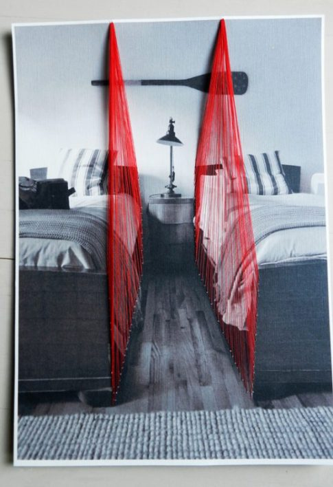 One bedroom, two beds, 2013, threads on paper