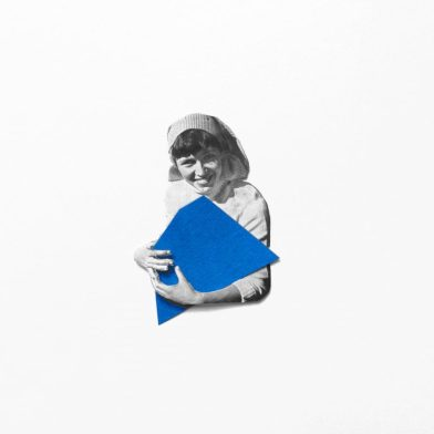 My blue new friend,Hand made collage on paper