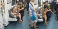 Nekat cewek ini naik kereta cuma pake pakaian dalem doank