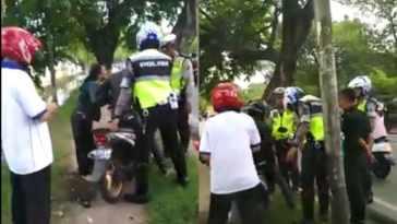 Hindari razia polisi, dua sejoli ini malah bernasib apes, makanya kalau gak salah gak usah kabur!