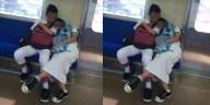 Tercyduk! Mesra di KRL, netizen kebingungan cari tangan kanan remaja pria di foto ini, mungkin lagi metik paya!