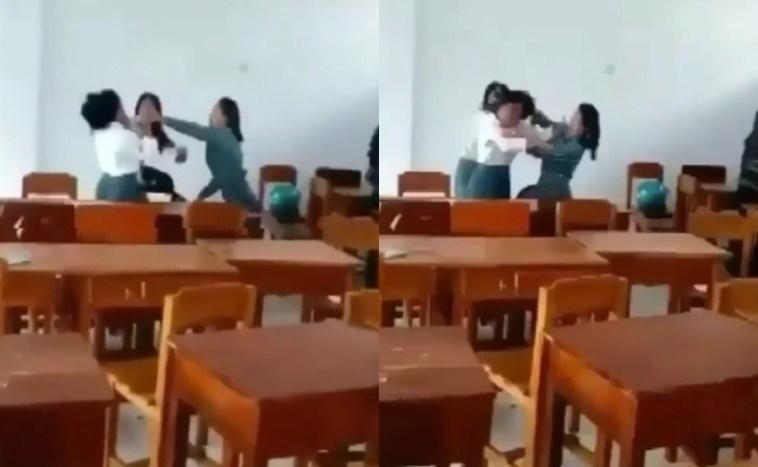 Jambak hingga banting kepala temannya ke lantai, video perkelahian siswi SMA ini viral
