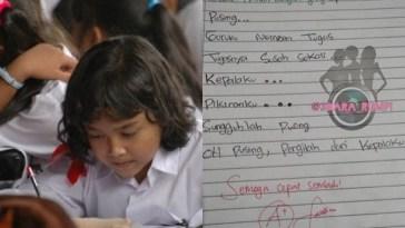 Diberi tugas membuat puisi, sajak yang dibuat bocah SD ini dapat pesan dari sang guru, semoga cepat sembuh!