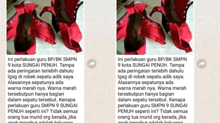 Keterlaluan, sepatu satu-satunya siswa SMP ini dirusak guru karena dalamnya berwarna merah