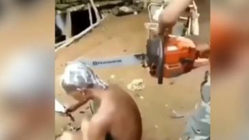 Video viral! Orang ini potong rambut dengan gergaji mesin, meleset dikit nyawa taruhannya