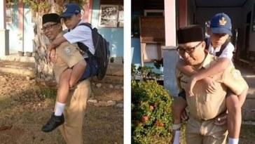 Kisah viral inspiratif seorang guru di Morowali rela gendong siswanya yang alami patah tulang