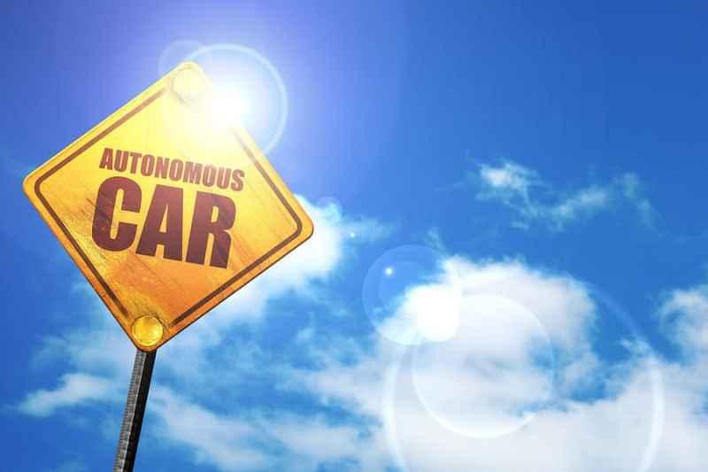 autonomous car, 3D rendering, a yellow road sign
