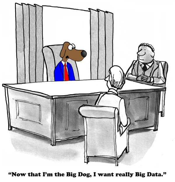 Business cartoon about big data and the big boss.