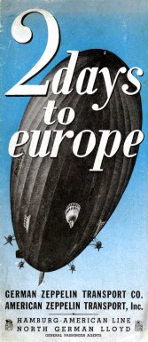 Reklambild med zeppelinare och texten 2 days to Europe
